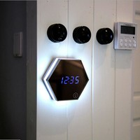 Multifunction Mirror Glass Digital Wall Clock Night Lights Snooze Light-emitting Thermometer Alarm Clock with USB Cable Hot Sale