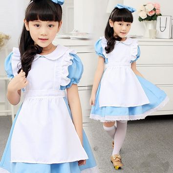 children girl blue alice in wonderland halloween costume for kids party lolita maid dress cosplay Fancy carnival costumes girls