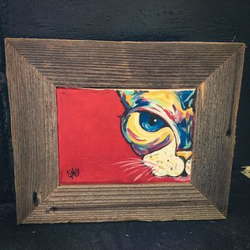 Colorful Abstract Cat Painting Framed with Reclaimed Barn Wood