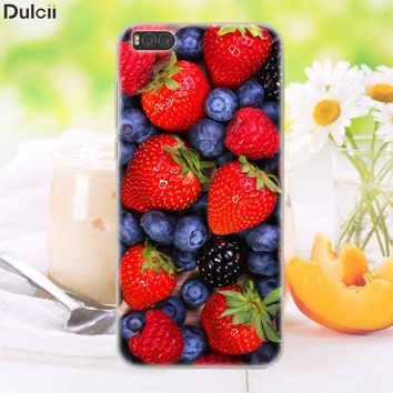 DULCII For Xiaomi Mi 6 Xiomi Mi6 Case TPU Protect Soft Gel Cover Mobile Phone Shell Fruit Cherry Strawberry Blueberry