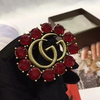 GUCCI New Fashion Women Red Diamonds Retro Double G Brooch Jewelry I13214-1