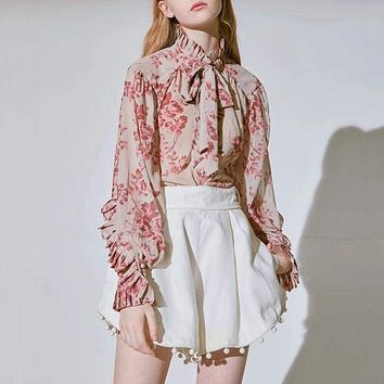 Casual Print Bow Knot Lace Up Turtleneck Lantern Long Sleeve Blouse