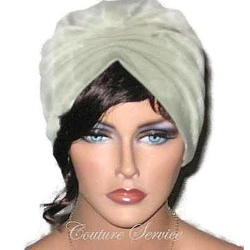 Handmade Green Pleated Turban, Sage