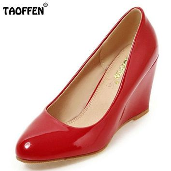 Wedges Shoes Pointed Toe Patent Leather Pumps