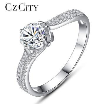 CZCITY Luxury Tiny CZ Paved with One Carat Zircon Engagement Finger Ring for Women Female Classic Vintage 925 Silver Ring Gift