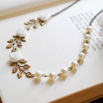 Bridal Necklace, Wedding Necklace, Antique Brass Leaf Branch White Flower Cream Ivory Pearls Necklace, Nature and Vintage Inspired wedding