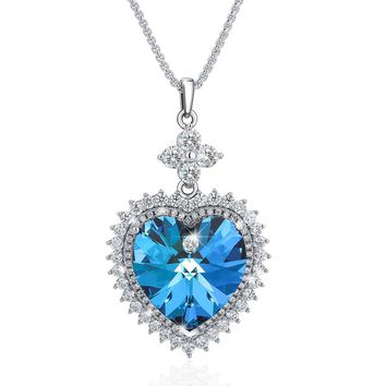 Heart of The Ocean Pendant Necklace, Made with Blue Swarovski Crystals