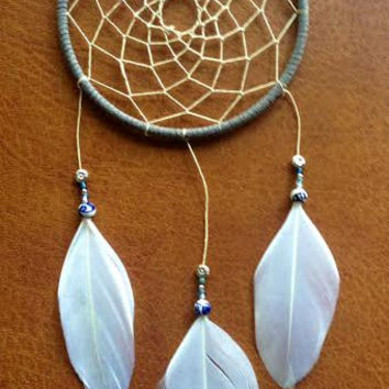 Dream Catcher - Modern - Blue, White, Gray - Hippie