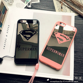 Iphone 6/6s Cute Hot Deal On Sale Stylish Iphone Apple Soft Mirror Couple Superman Phone Case [8383657671]