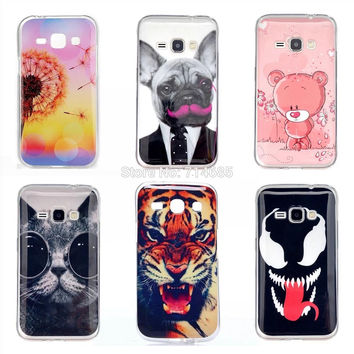 "4.5"" J120 J120F J1 6 Duos LTE Luxury TPU Gel Soft Protective Phone Case for Samsung Galaxy J1 2016 Cover Skin Owl Bear Cat Dog"