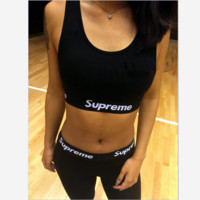 Supreme Sexy high pure cotton play sports suits - thin yoga leggings Black