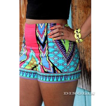 Women Shorts High Waist Retro Swim Bikini Swimwear Boy Style Short Brief Bottoms