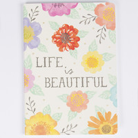 Life Is Beautiful Watercolour Floral A5 Notebook