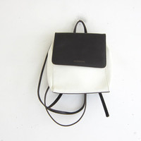 vintage 90s white and brown leather rucksack backpack