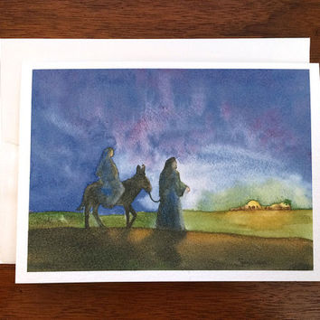 ON SALE Bethlehem Christmas Card - Watercolor Christmas - Mary and Joseph - Christian Christmas Card