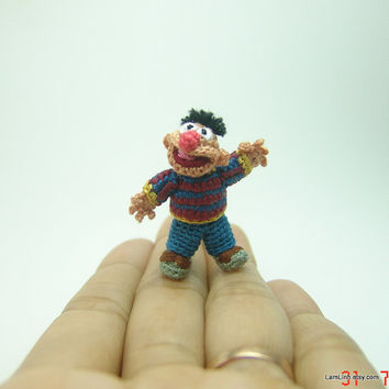 1 1/3 inch crochet  muppet doll inspired Ernie - tiny amigurumi miniature muppet