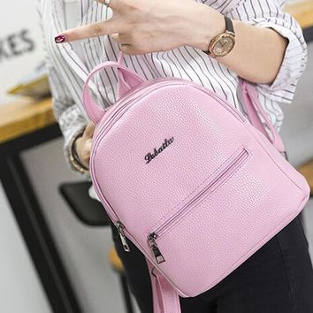 candy color casual leather backpack schoolbag travel bag gift  number 1