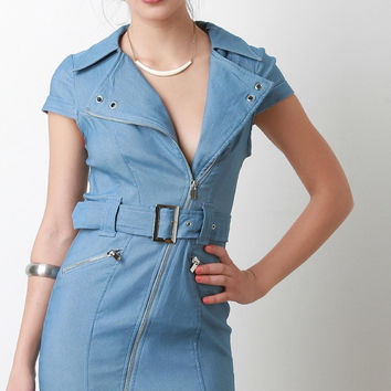 Chambray Belted Bodycon Dress