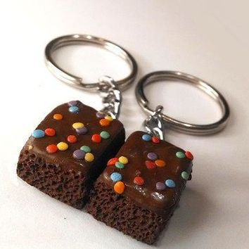 Brownie Halves Key Chains Polymer Clay Food Accessories Best Friends Bff