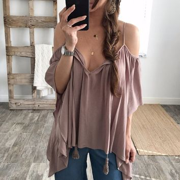 Summer Hot Sale Medium Sleeve Loose Off the Shoulder Top [11513469268]