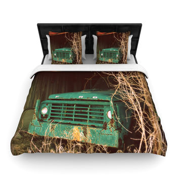 "Angie Turner ""Ford"" Teal Car Woven Duvet Cover"