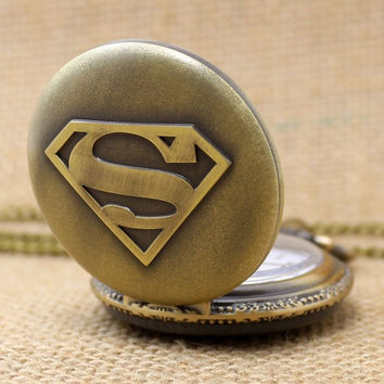 Vintage Superman Hero Boy Pendant Necklace Pocket Watch with Chain (Color: Tan) = 1946825988