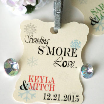 Winter wedding favor tags, snowflake favor tags, thank you favor tags, gift tags - 30 count
