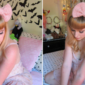 Baby Pink Crocheted Big Bow Ear Warmer Headband (as seen on Marina and the Diamonds)
