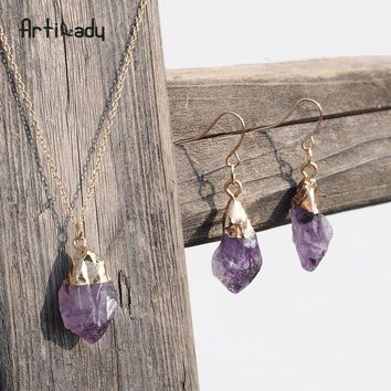 Natural stone pendant necklace earrings jewelry set