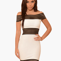 Off Shoulder Striped Mesh Bodycon Dress