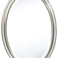 Blake Oval Mirror Brushed Silver Finish; Beveled Mirror