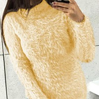 HIGH COLLAR FUZZY PULLOVER