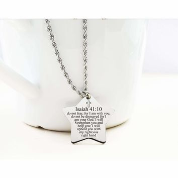 Star Tag Necklace - Isaiah 41:10