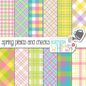 Spring Digital Paper – spring scrapbook paper with plaid patterns & buffalo checks - Easter digital paper - printable paper - commercial use
