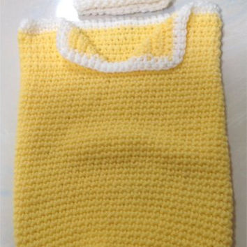 Yellow Newborn Baby Cocoon with Matching Hat - Crochet
