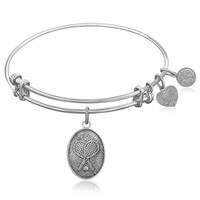 Expandable Bangle in White Tone Brass with Tennis Symbol