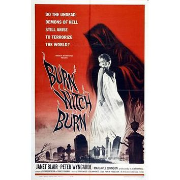 Burn Witch Burn Movie poster Metal Sign Wall Art 8in x 12in