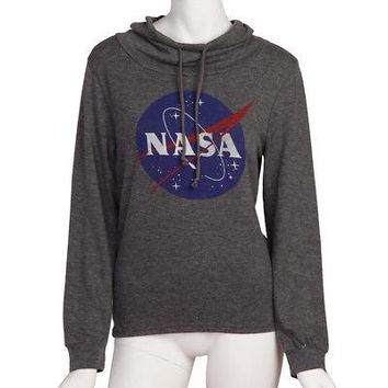 NASA Logo Women's Pullover Cowl Neck Tri-blend Sweatshirt - Gray