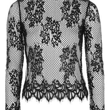 Long Sleeve Lace High Neck Top - Topshop