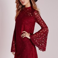 Missguided - Bell Sleeve Lace Swing Dress Red