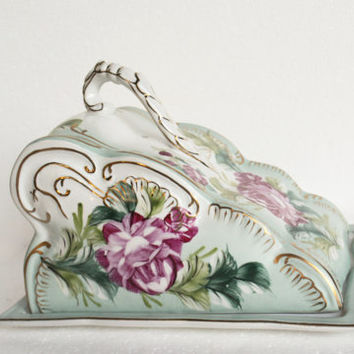 Victorian Limoges Cheese Keeper, Vintage Covered Cheese Plate, French Covered Serving Piece