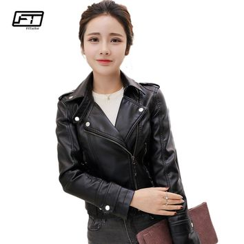 New Fashion Women Faux Soft Leather Jackets Autumn Winter Pu Black Blazer Zippers Coat Motorcycle Outerwear