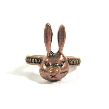 Rabbit Ring Size 6 Woodland Wildlife Bronze Tone Bunny RD37 Statement Fashion Jewelry