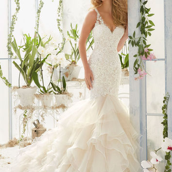 Pearls and Crystals on Lace Mermaid Wedding Dress | Style 2819 | Morilee