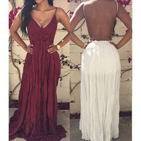SEXY LACE BACKLESS SPLICING CHIFFON DRESS