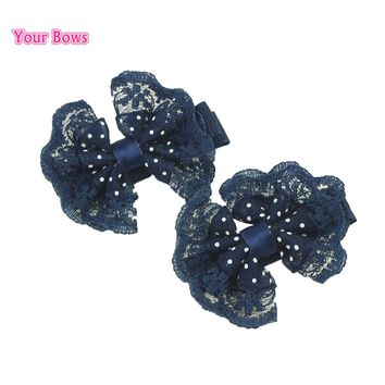 Your Bows 2Pcs 6 Colors Girls Lace Bows Hair Clips Cute Flower Hairpins Headwear Baby Children Hair Accessories
