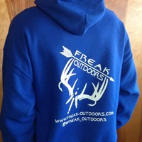 Blue Hoodie With White Ink | Freak Outdoors