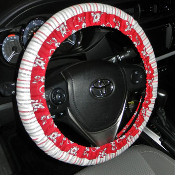 Custom Two Fabric Steering Wheel Cover-Two Fabrics Red White Links-Car Accessory-Cute Accessory for Car-Steering Wheel Cover-Wheel Cover