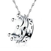 Sephla 14K White Gold Plated Princess Crown Pendant Necklace For Women