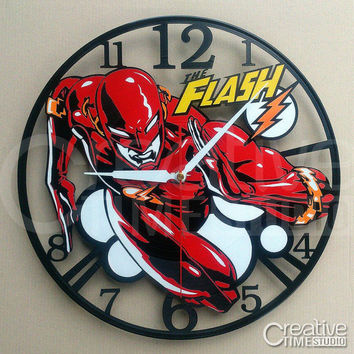 Upcycled Vinyl wall clock - The Flash